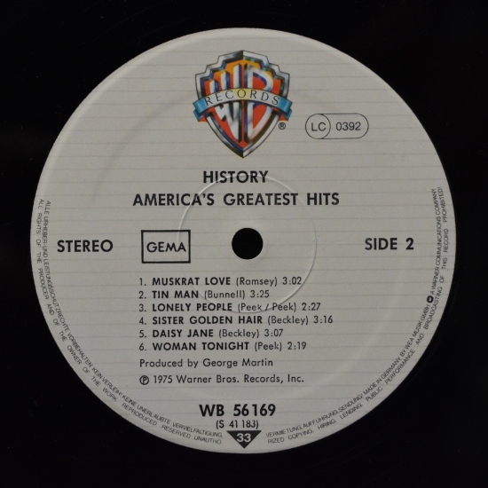 america history america 39 s greatest hits wb 56 169 bs 2894 lp compilation reissue black. Black Bedroom Furniture Sets. Home Design Ideas