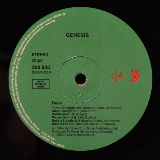 Genesis Duke 206 925 610 Album Reissue Black Vinyl