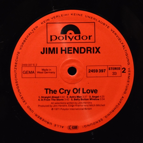 jimi hendrix the cry of love 2459 397 lp compilation reissue black vinyl bazar brno. Black Bedroom Furniture Sets. Home Design Ideas