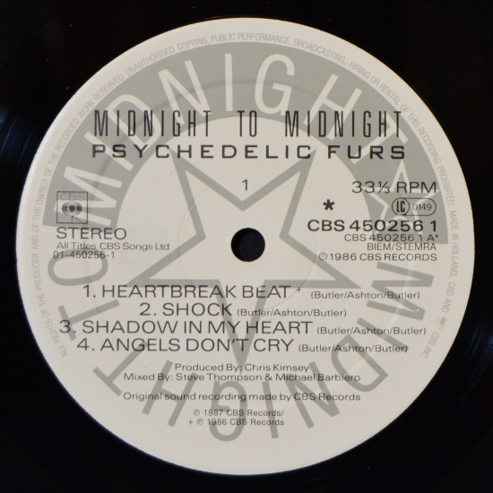 Psychedelic Furs Midnight To Midnight Cbs 450256 1 Lp