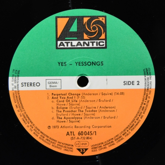 Yes Yessongs Atl 60 045 3 Lp Live Album Reissue