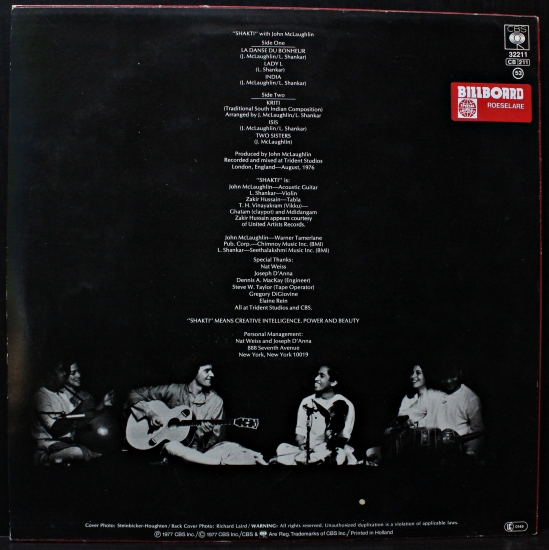Shakti A Handful Of Beauty Cbs 32211 Album Reissue