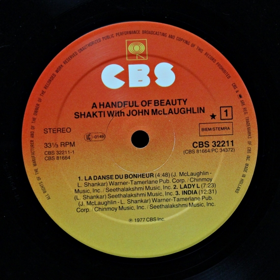 Shakti A Handful Of Beauty Cbs 32211 Album Reissue