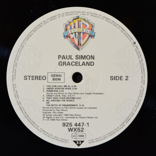 Paul Simon Graceland 925 447 1 Wx 52 Lp Album Black