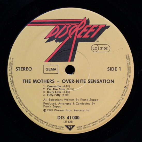 The Mothers Of Invention Over Nite Sensation Dis 41000